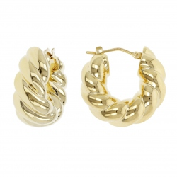 PENDIENTES ORO BRAID TWIST HUG HOOP WSRE00017