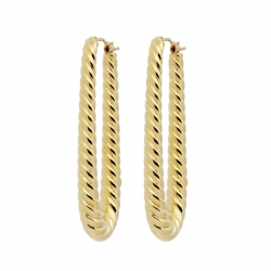 PENDIENTES ORO ELONGATED MINI ROPE HOOP WSRE00026